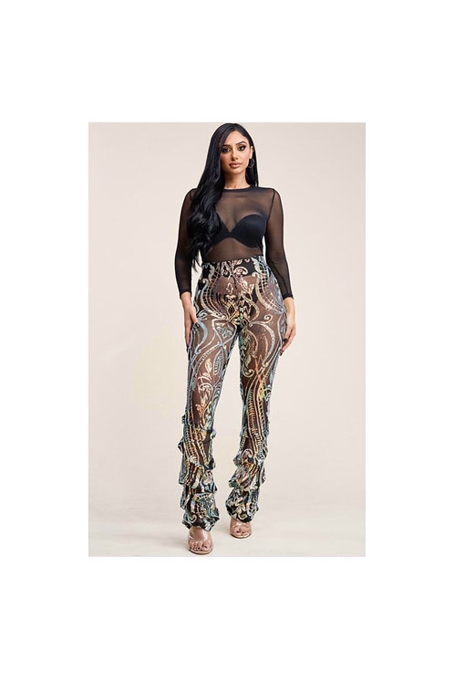 Holographic Sequins Pants Set