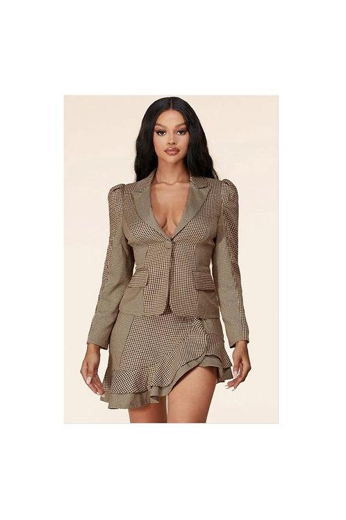 Houndstooth Blazer Mini Skirt Set