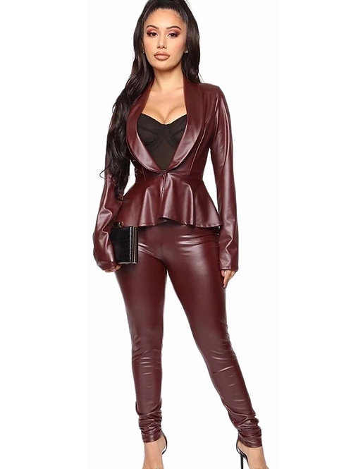 Faux Leather Pants Set