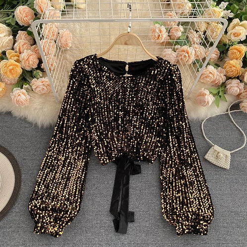 Sequins Open Back Blouse