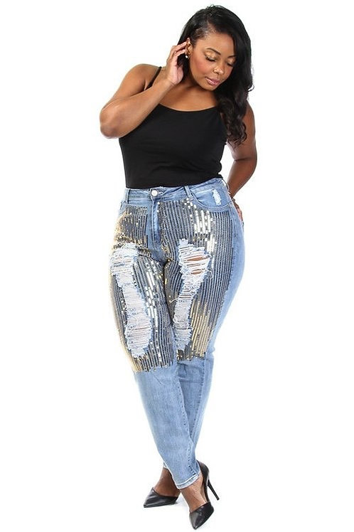 Distressed Ripped Sequins Jeans