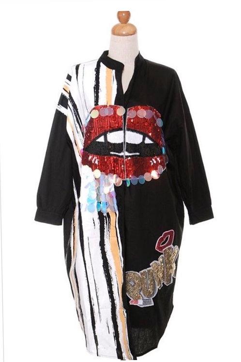 Sparkling Lip Button Down Shirt/Dress