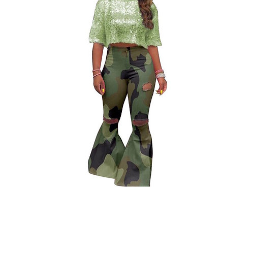Camouflage Flare Bell Jeans