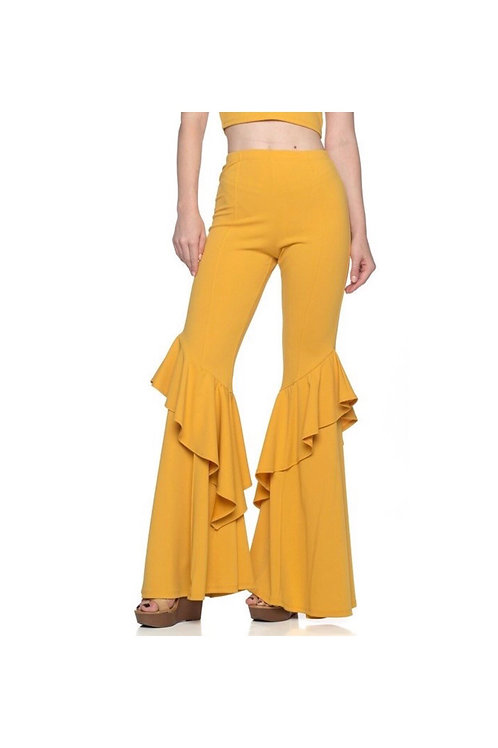 Ruffle Bell Bottom Pants
