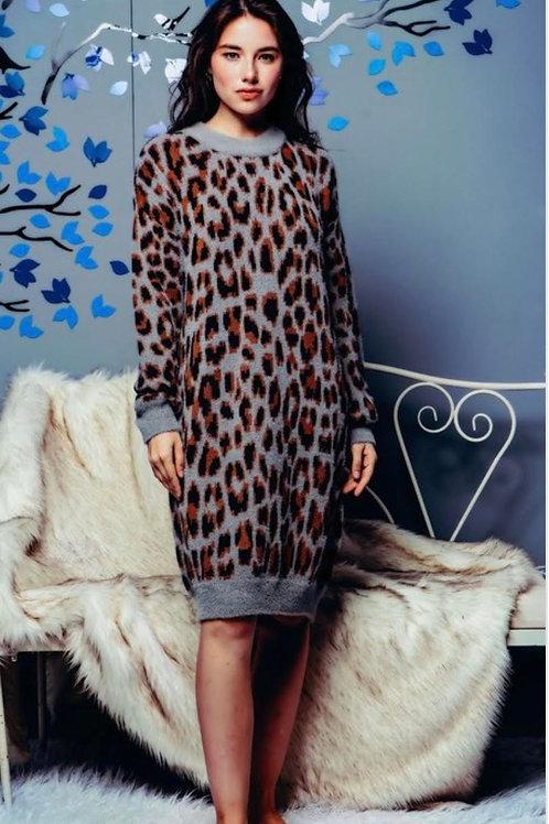 Leopard Fuzzy Sweater Dress