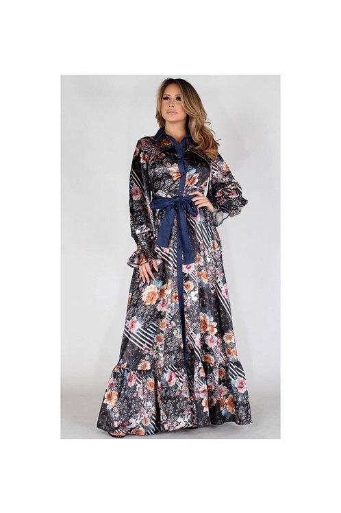 Floral and Denim Maxi Dress