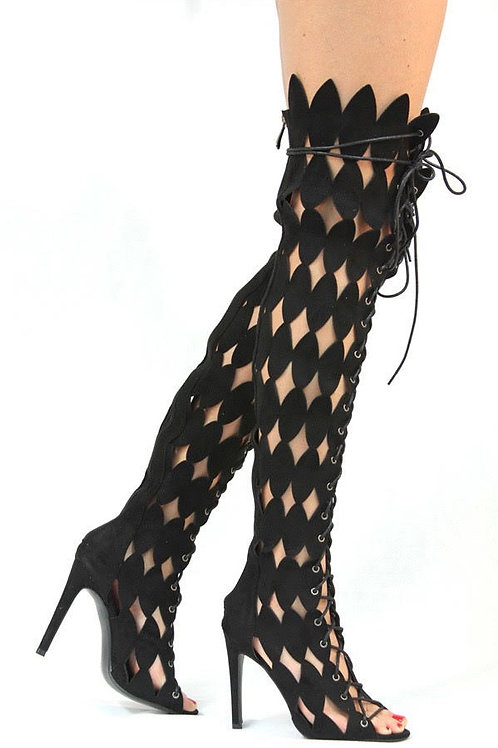 Faux Suede Sexy Cutout Lace-Up Gladiator Heels Boots