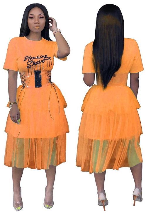 Logo Mesh Ruffle Dress
