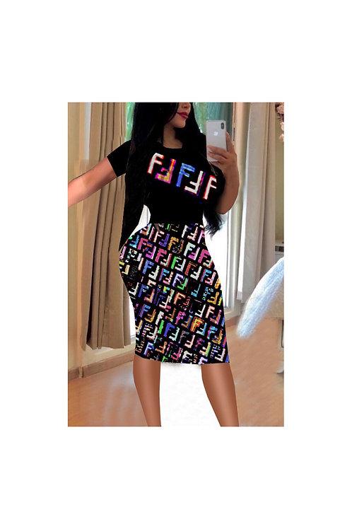 Printed Fendi Inspired Dress