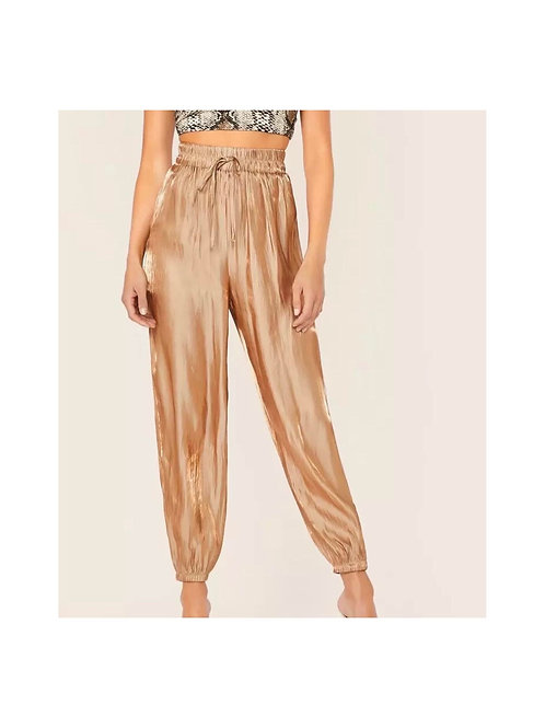 Shimmer Pleated Drawstring Pants