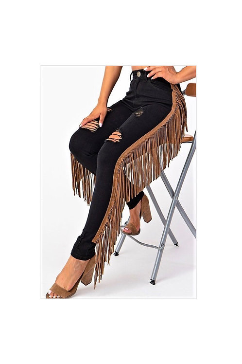 Ripped Fringed Jeans