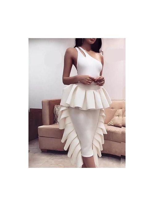 Two Piece Side Ruffle Skirt Set