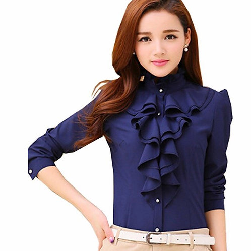 Fitted Lace Ruffle High Neck Long Sleeve Blouse
