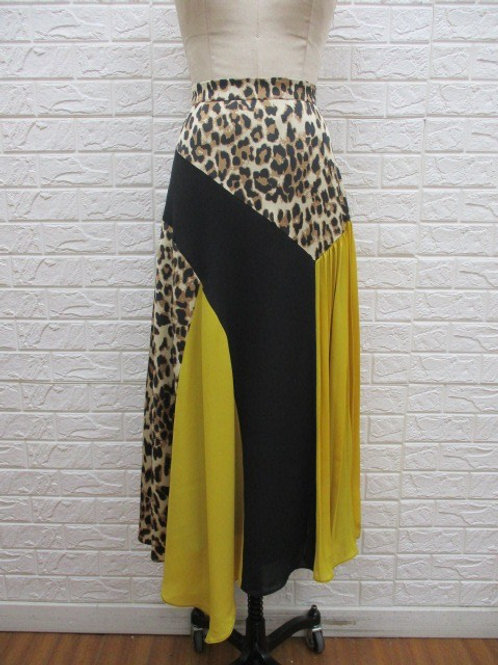 Animal Print Color-block Skirt