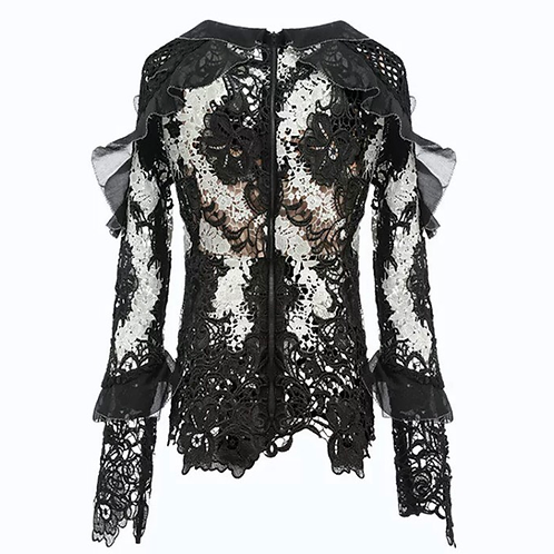 Lace Floral Embroidered Crochet Ruffle Blouse
