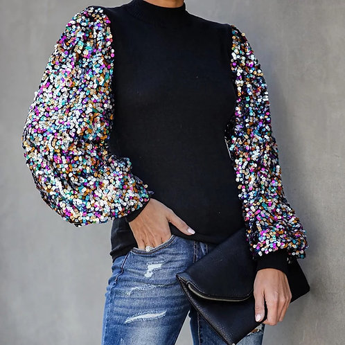 Sequins Sleeve Blouse