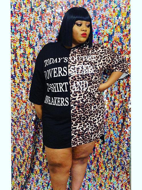 Leopard Oversized Tee Dress