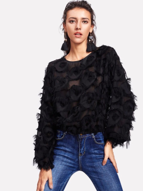 Fringe Mesh Dress Blouse
