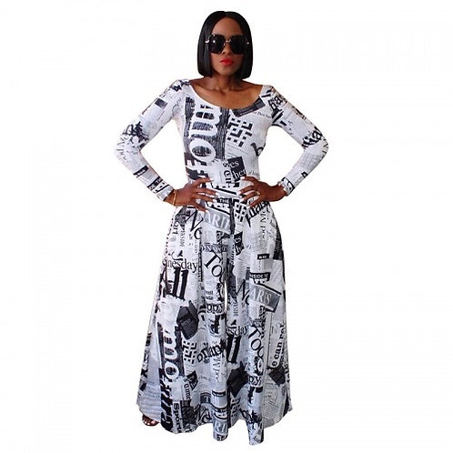 Newspaper Print Wide-Leg Jumpsuit