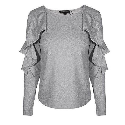 Knit Long Ruffle Sleeve Shirt