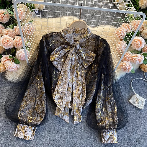Mesh Gold Bow Tie Blouse