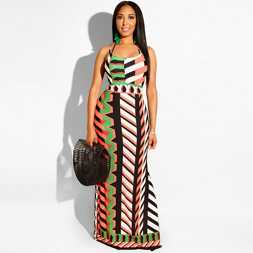 Printed Halter Strap Maxi Dress