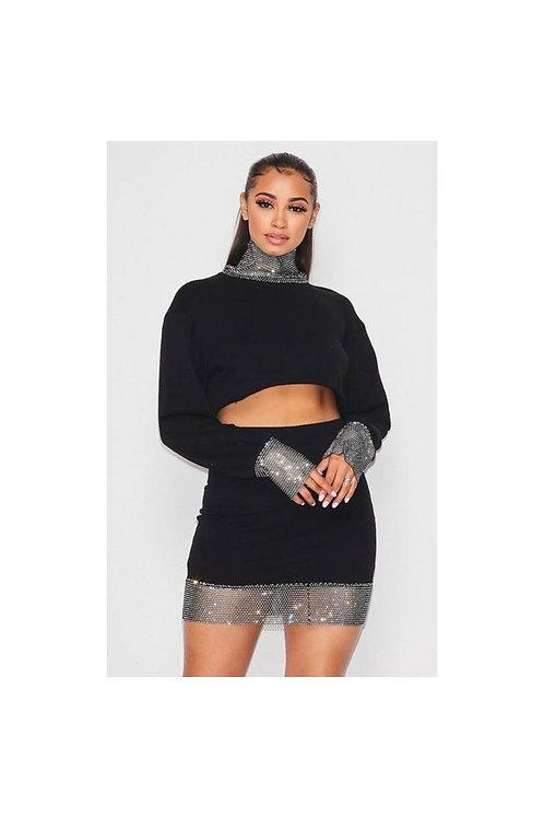 Rhinestone Mini Skirt Set
