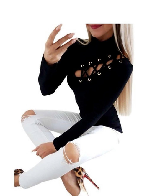 Cut Out Lace Up Top