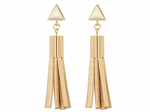 Gold Tone Crystal Triangle Lesther Tassel Earrings
