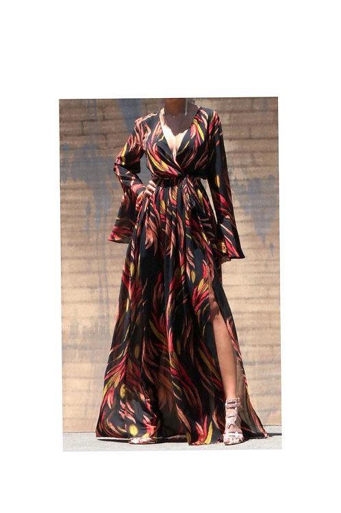 Leaf Printed Maxi Dress