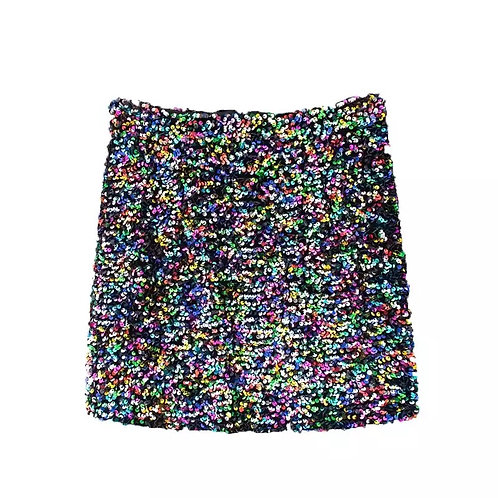 Multi color mini sequins skirt