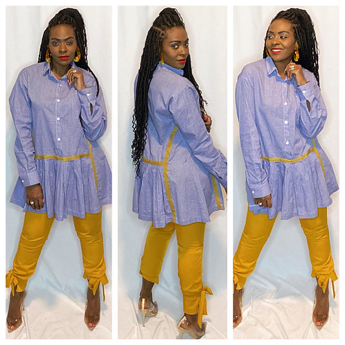 Checkered Pleated A-Line Blouse