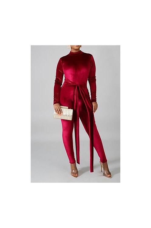 Velvet Bodycon Jumpsuit