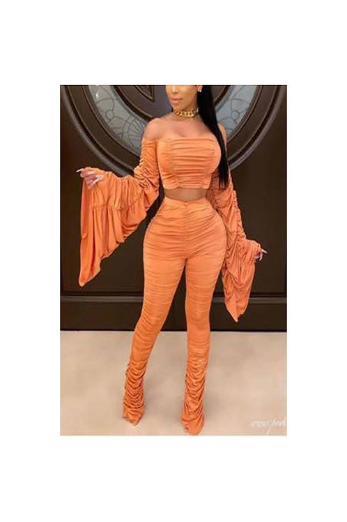 Ruched Bell Sleeve Pants Set