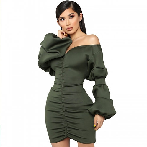 Puff Sleeve Ruched Dress