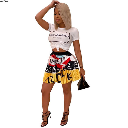 Graphic Print Pleated Mini Skirt