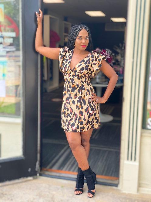 Leopard Open Back Belted Dress
