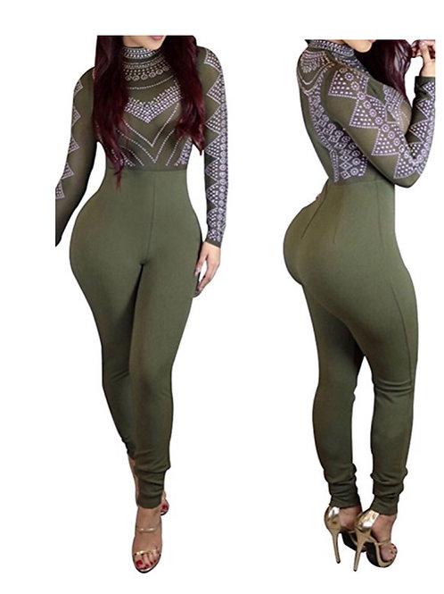 Sexy Long Sleeve Digital Print Body-Con Nightclub Jumpsuit