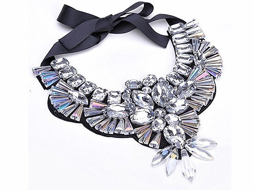 Unique Ribbon Tie  Crystal Stone Necklace
