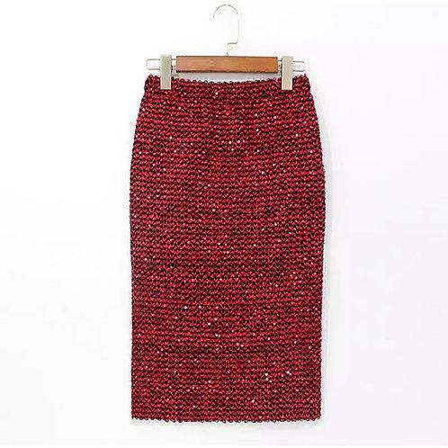 Sequins Elastic high waist Skirt