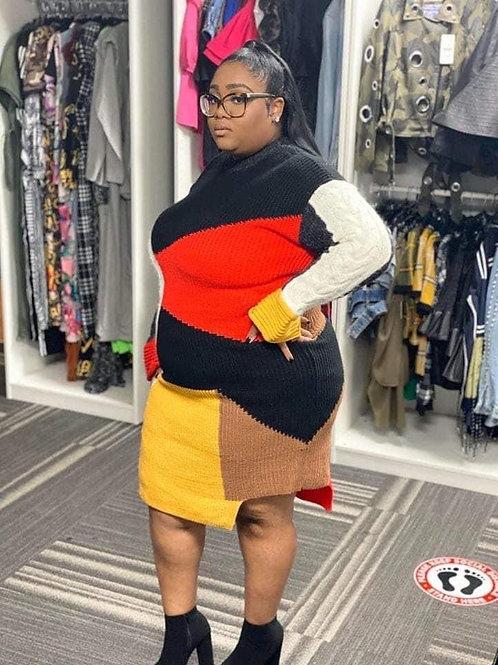 Oversized Contrast Sweater Dress