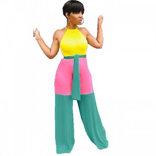 Color Block Wide Leg Jumpsuit