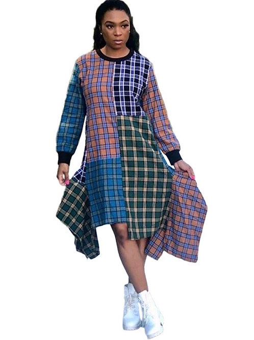 Plaid Asymmetrical Dress