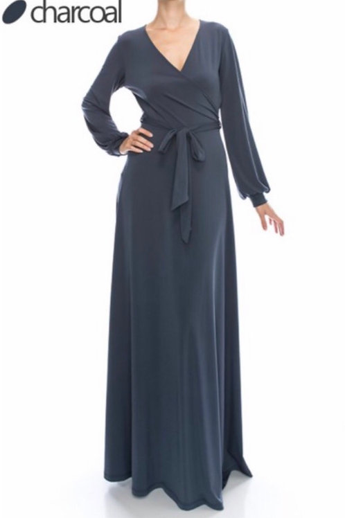 Solid Long Belted Maxi Dress