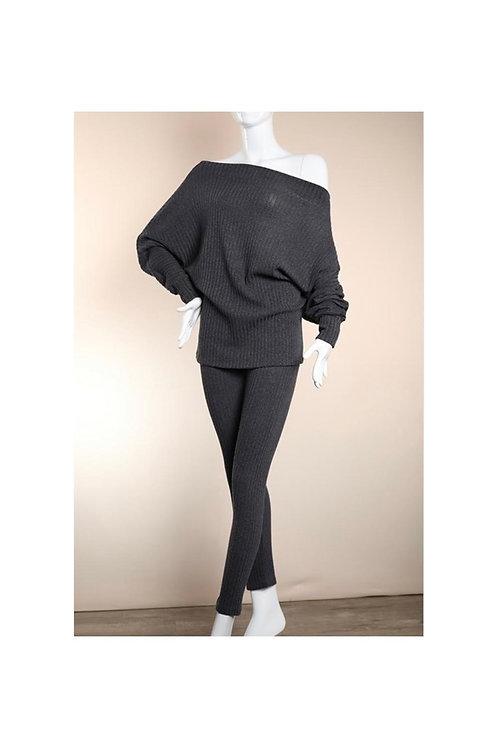 Rib Knit Off Shoulder Pants Set