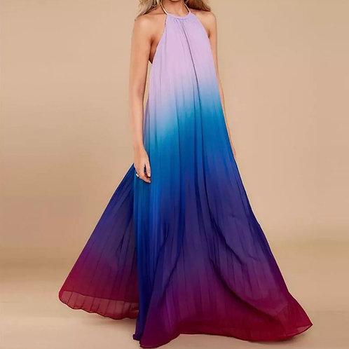 Gradient Halter Chiffon Maxi Dress