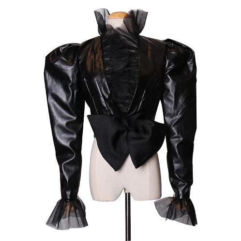Mesh Leather Puff Jacket