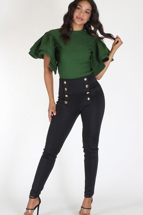 Ruffle Round Sleeve Top