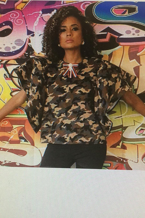Camouflage Flare Sleeve Top