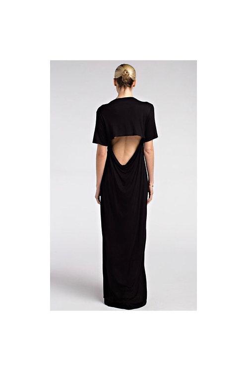 Open Back Solid Maxi Dress